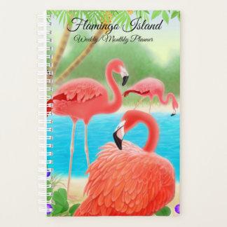 Flamingo-Insel-wöchentlicher Monatsplaner Planer