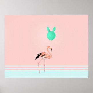 Flamingo-Kaktus-Ballon Poster