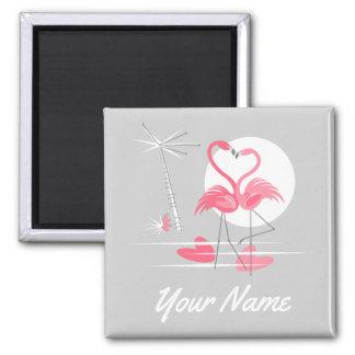 Flamingo-Liebe-Namenmagnetquadrat Quadratischer Magnet