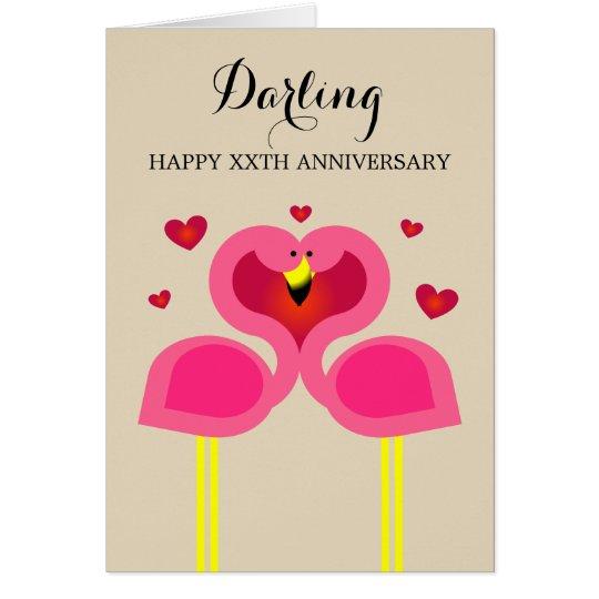 Flamingo-Liebe-personalisierte Jahrestags-Karte Karte