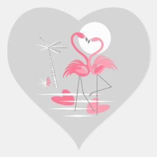 Flamingo-Liebeaufkleberherz Herz-Aufkleber