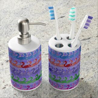 Flamingo-Muster-Bad-Set (ColorPurple) Seifenspender & Zahnbürstenhalter