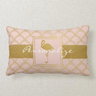 Flamingo-Retro Rosa und Imitat-Gold personalisiert Lendenkissen