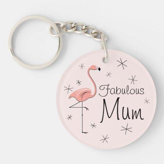 "Flamingo-rosa ""fabelhafte Mama"" Acrylkeychain Beidseitiger Runder Acryl Schlüsselanhänger"