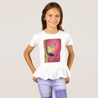 Flamingo-Sonnenuntergang-Rüsche-T-Stück T-Shirt