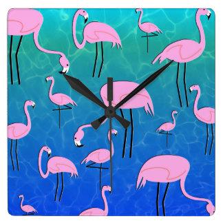 Flamingo-Teich Quadratische Wanduhr