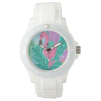 Flamingo-tropische Dschungel-Uhr Armbanduhr