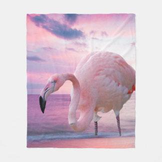 Flamingo und rosa Himmel Fleecedecke