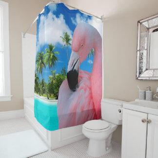 Flamingo und Strand Duschvorhang