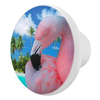 Flamingo und Strand Keramikknauf