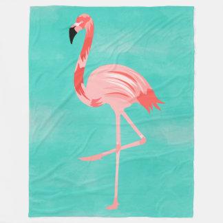 Flamingo-Vogel auf Türkis-Hintergrund Fleecedecke