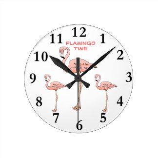 FLAMINGO-ZEIT, 3 rosa Flamingo-Vögel Wanduhren