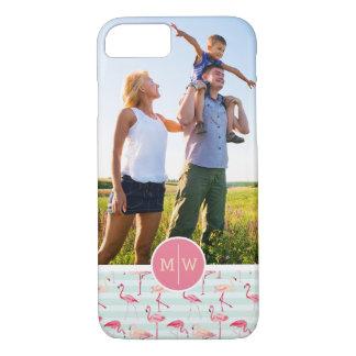 Flamingos auf Streifen | addieren Ihr Foto u. iPhone 8/7 Hülle