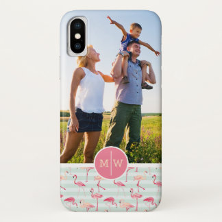 Flamingos auf Streifen | addieren Ihr Foto u. iPhone X Hülle