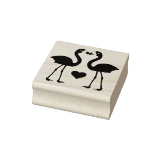 """""""Flamingos in der Liebe"""" GummiBriefmarke Gummistempel"""