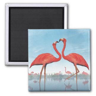 Flamingoumwerbung - 3D übertragen Quadratischer Magnet