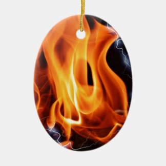 Flamme-Fokus Ovales Keramik Ornament