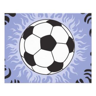 flammes bleues de ballon de football prospectus 11,4 cm x 14,2 cm