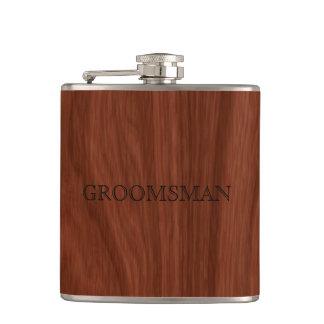 Flasques Fibre de bois rustique du mariage | de Groomsman