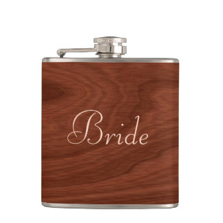 Flasques Regard du bois personnalisé de mariage rustique de