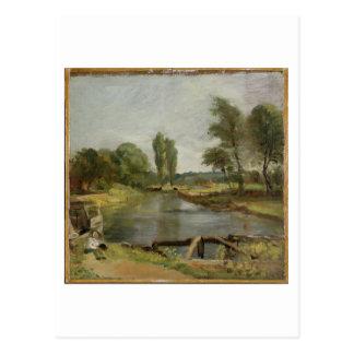 Flatford Verschluss, 1810-11 (Öl auf Papier auf Postkarte