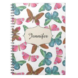 Flatternde Schmetterlinge Spiral Notizblock