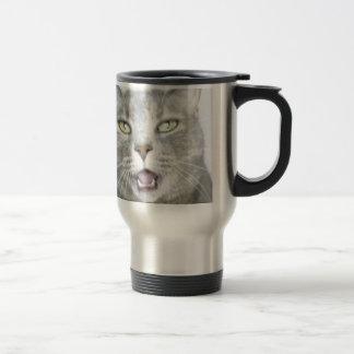 flaumiger unglaublich witzig offener Meow Mund der Edelstahl Thermotasse