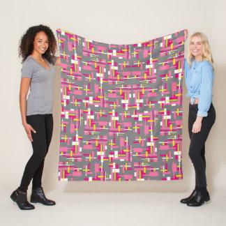 Fleece-Decke mit den rosa, Grauen und Gelbblöcken Fleecedecke