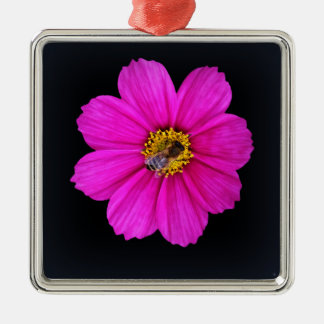 fleißige Biene Quadratisches Silberfarbenes Ornament
