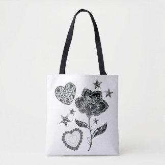 fleur coeur et étoiles sac