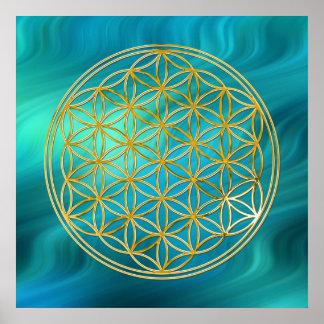 Fleur d or de la vie vagues bleu-vert posters