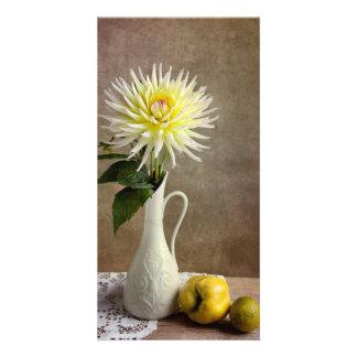 Fleur de dahlia cartes avec photo