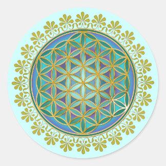 Fleur de DES Lebens de la vie/Blume - boutonnez V Sticker Rond