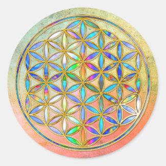 Fleur de DES Lebens - or de la vie/Blume coloré Sticker Rond