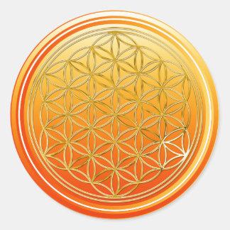 Fleur de DES Lebens - orange de la vie/Blume d'OR Sticker Rond