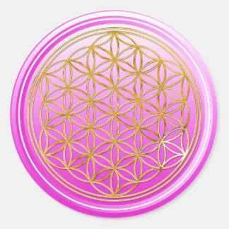 Fleur de DES Lebens - rose de la vie/Blume d'OR Sticker Rond