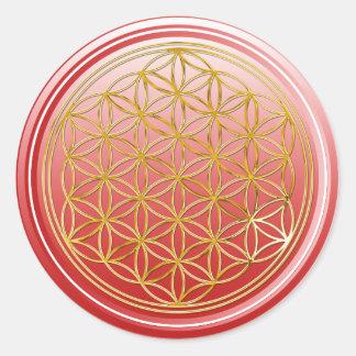 Fleur de DES Lebens - rouge de la vie/Blume d'OR Sticker Rond