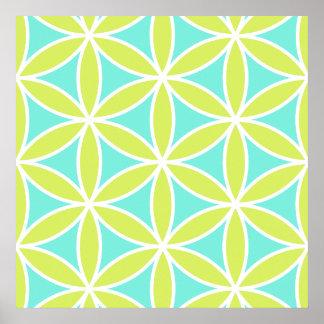 Fleur de grande chaux turquoise et de blanc de Ptn Poster