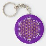 Fleur de la vie - argent d'or de Lotus Porte-clé
