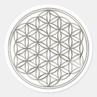 FLEUR DE LA VIE - argent Sticker Rond