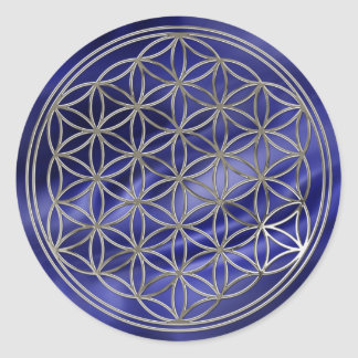 Fleur de la vie/Flower Of LIFE | de royaux silver Sticker Rond