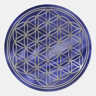 Fleur de la vie/Flower Of LIFE | de royaux silver Sticker Rond