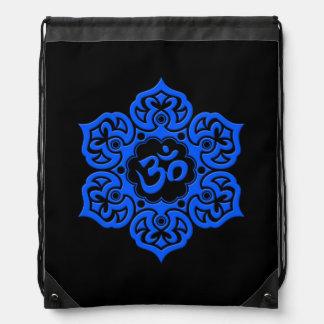 Fleur de Lotus bleue et noire OM Sac Avec Cordons