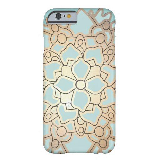 Fleur de Lotus de feuille d'or de bleu et de Faux Coque iPhone 6 Barely There