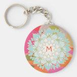 Fleur de Lotus de floraison Keychain décoré d'un m Porte-clefs