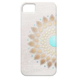 Fleur de Lotus élégante de regard de feuille d or Coques iPhone 5