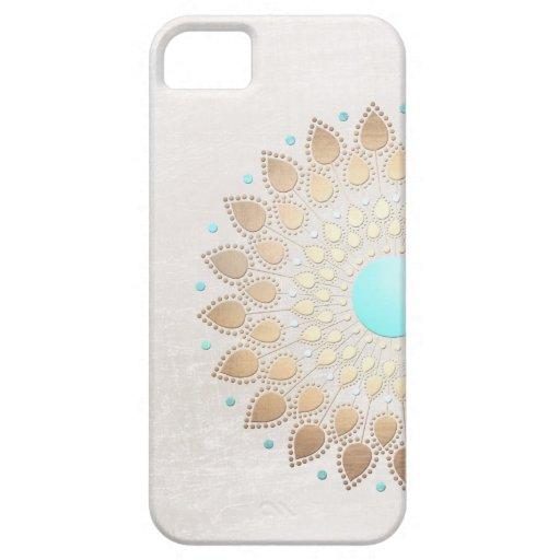 Fleur de Lotus élégante de regard de feuille d'or Coques iPhone 5