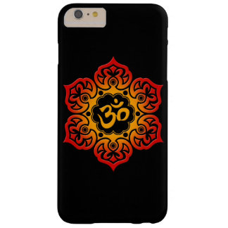 Fleur de Lotus rouge et jaune OM sur le noir Coque Barely There iPhone 6 Plus