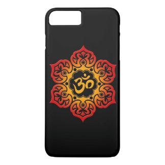Fleur de Lotus rouge et jaune OM sur le noir Coque iPhone 7 Plus