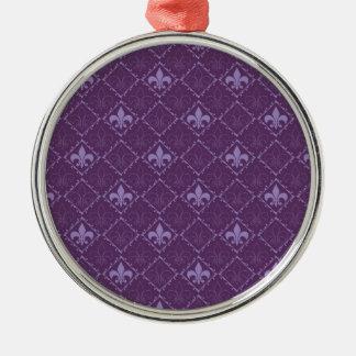 Fleur de Lys lila runde Verzierung Musters Rundes Silberfarbenes Ornament